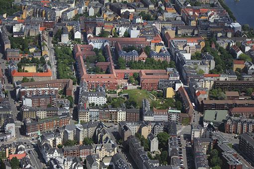 Byens-rum-luftfoto