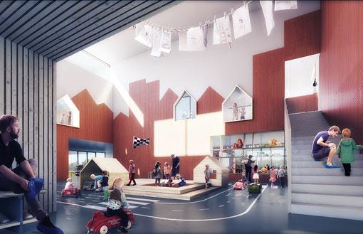 Den roede by, nyt børnehus i Skovlunde tegnet af Rubow arkitekter